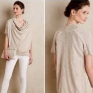 Anthropologie Knitted Knotted SM Cowl neck Beige